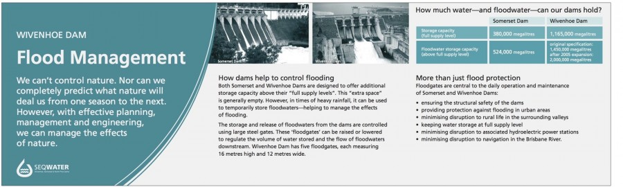 Wivenhoe Dam interpretive signage - Flood management